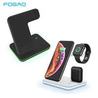 Qi 15W Fast Wireless Charger 3 in 1 Charging Stand Station For Apple Watch Series iphone XS MAX XR 8 Plus X For iwatch Airpods