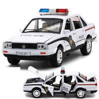 1 32 Police Model Vehicles Alloy Toy Diecast Car With Flashing Musical Pull Back Door Open