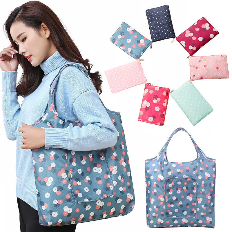 Oxford Reusable Grocery Handbag storage Bag Waterproof Large Capacity Printing Shoppers Foldable Tote Bags Practical