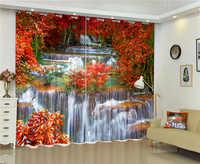 عجائب شلال 3d ستائر التعتيم الطبيعي صحي غير التلوث الرقمية طباعة لغرفة النوم غرفة المعيشة