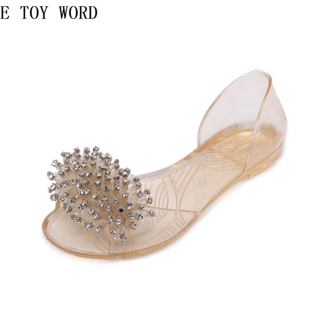2018 summer beaded rhinestone bow transparent crystal jelly shoes women flat  plastic sandals for women s shoes 69078f6a6827