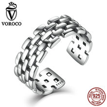 VOROCO Retro 925 Sterling Silver Rings Watch Chain Patterns Finger Adjustable Cuff Ring for Women & Man Fine Jewelry
