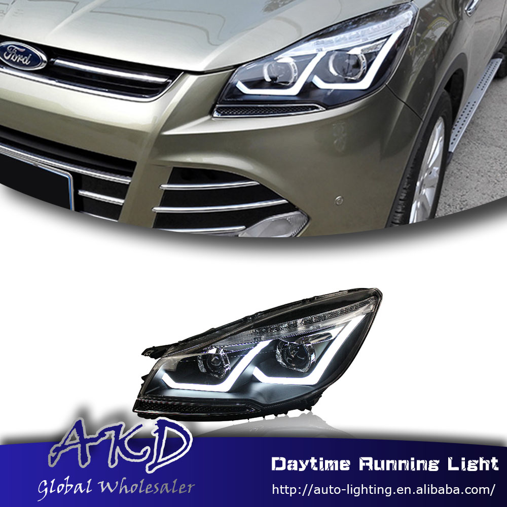 Car styling headlights for ford kuga escape led headlight for kuga 2014 2016 drl daytime