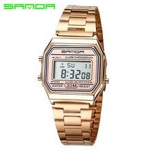 SANDA Esporte Ouro Rosa Relógio Marca Das Senhoras Das Mulheres Relógio Eletrônico Digital LED Relógio De Pulso Relógio Feminino Montre Femme Relogio feminino