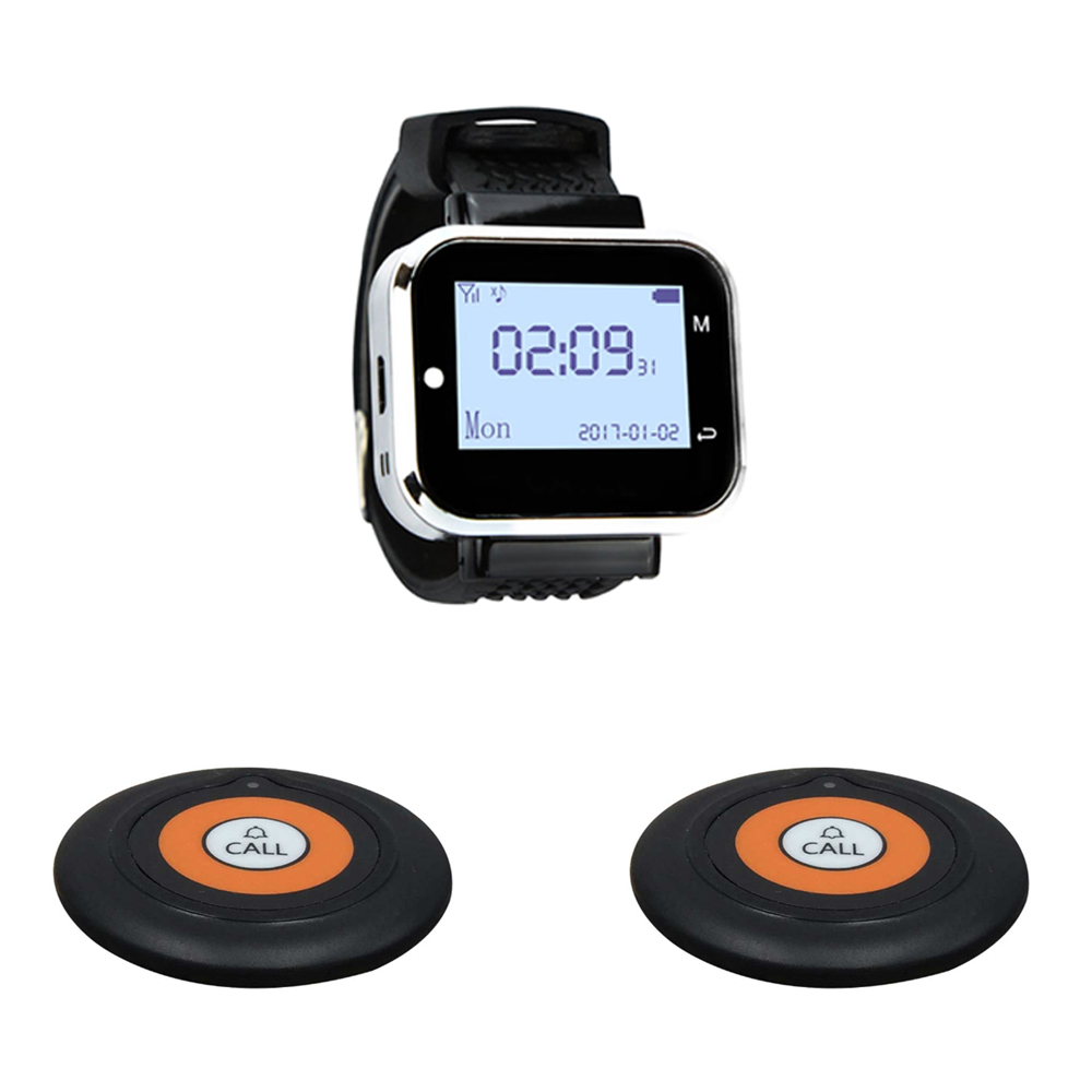 JINGLE BELLS Wireless Restaurant Guest Calling System Quality 2 Calling Buttons 1 Watch Receiver for cafe