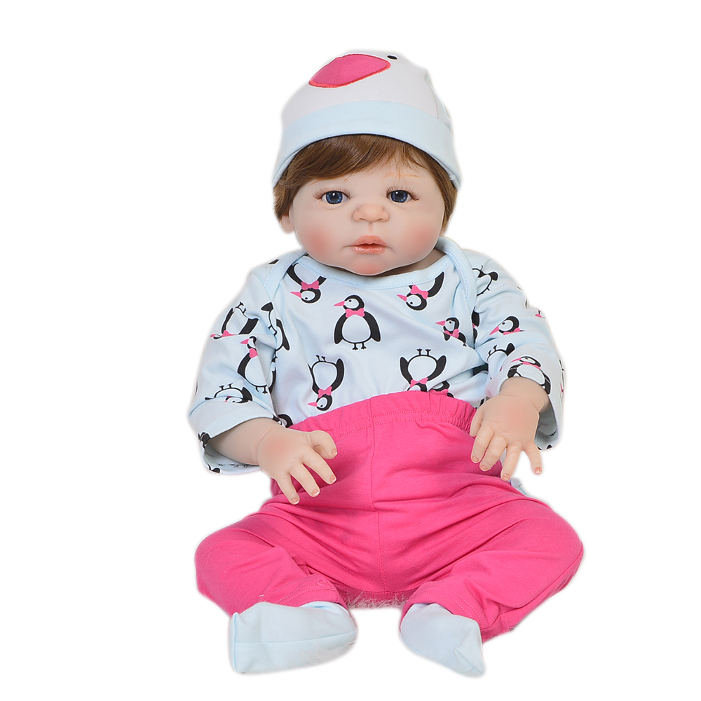 New Baby Reborn Doll Baby Toys 23 Full Silicone Vinyl Lifelike Newborn Dolls Girl Playmate For