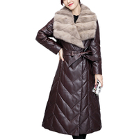 2018 High quality Fashion Women Sheepskin Coat Female Thicken Mink Hair Long Down Jacket Warm Winter Leather Coat Plus Size L974