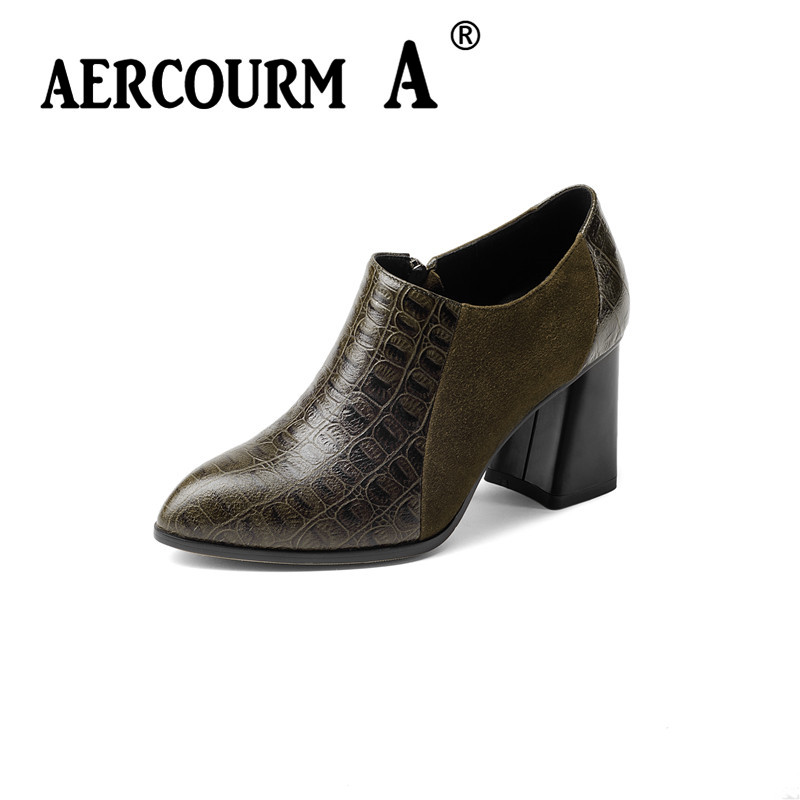 Aercourm A Shoes Women Cowhide Pumps Sexy Platform High Heels Women Shoes 2017 New Genuine Leather Shoes Black Size 34-39 H933 aercourm a 2018 women black fashion shoes female bright genuine leather shoes pearl high heel pumps bow brand new shoes z333
