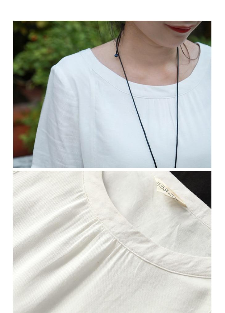 LZJN Cotton Linen Dress Women Casual Loose Summer Beach White Dresses Ladies Short Sleeve Maxi Long Vestido Robe Femme Plus Size (12)