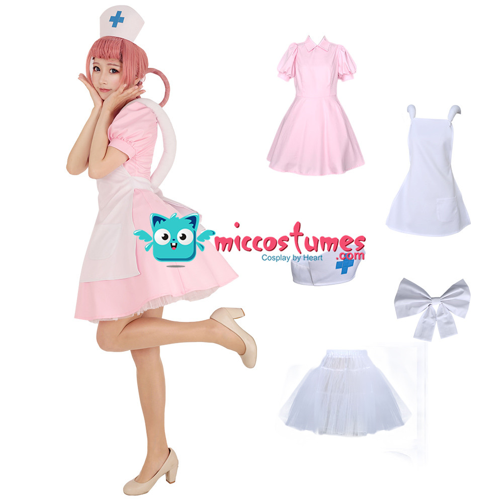 Nurse Joy Pink Cosplay Costume Pink Dress With Hat White Apron