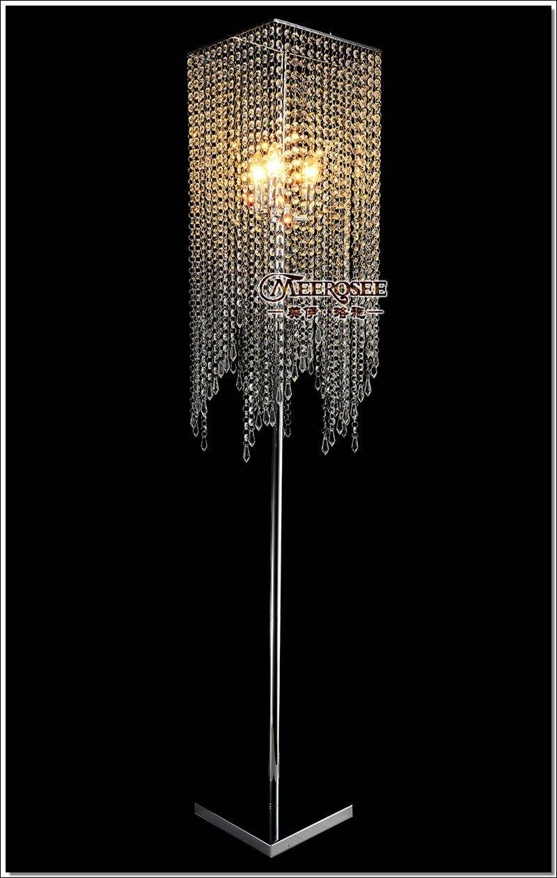 Free Shipping Modern Popular Crystal Floor Lamp Chrome Floor Stand Lighting Meerosee Stand Lighting Fl10008 Floor Lamps Aliexpress