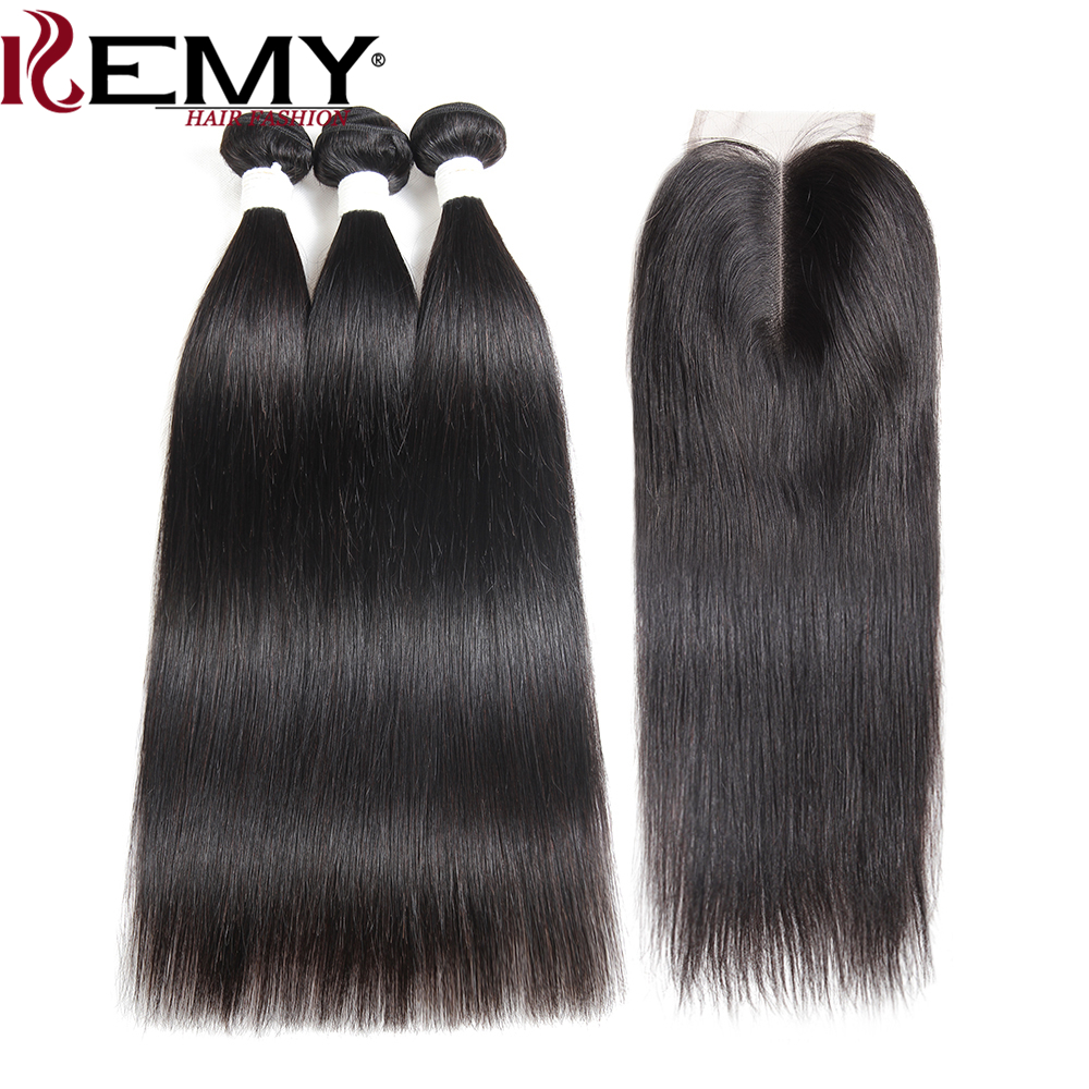 3 Pcs Human Hair Bundles With Closure 4 4 KEMY HAIR 100 Non Remy Brazilian Straight