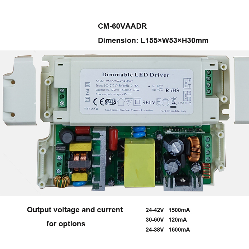 US $10 85 |5 70W 100 277V 0 10V/1 10V Dimming Led Driver Dimmable Isolated  Power Supply Terminal Block Constant Current 0 3A 1 5A -in Lighting