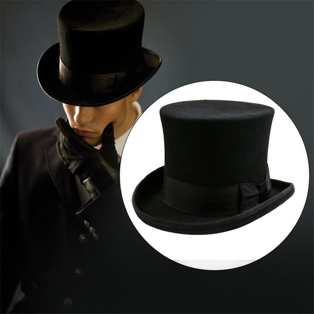 Takerlama Steampunk Mad Hatter Top Hat Victorian Vintage Traditional Wool  Fedoras Cylinder Hat Magician Trick Bowler Hat Unisex 252201de22b