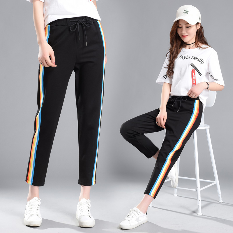 Sweatpants Sportswear Rainbow Pants Women 2019 Autumn Spring Black Harem Pants Harajuku Plus Size Kpop Trousers Female Casual