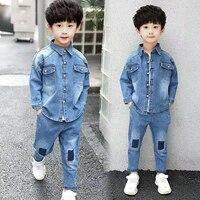 Baby Boys Clothing Sets Blue Denim Jackets +Pants 2Pcs Casual Tracksuits Kids Sports Kids Clothes Autumn Wear Warm Boys Outfits