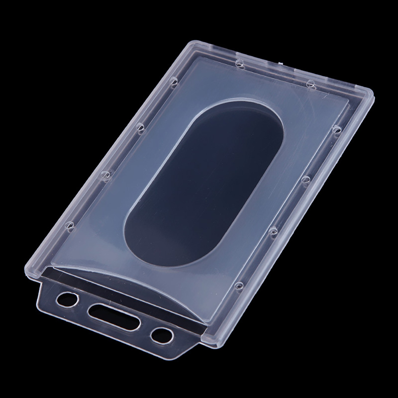 Transparent Plastic Vertical Hard ID Access Card Cover Credit Card Case Badge Holder Double Side Card Holder Case 1pc / 5pcs