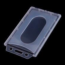 Case Badge-Holder Card-Cover Vertical Access Transparent Plastic Hard-Id 1pc/5pcs