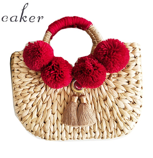 Caker 2018 Women Straw Handbag Contrast Color Tassel Large Big Shoulder Bag Embroidery Letter Beach Holiday Travel Shoulder Bags contrast lace open shoulder tee