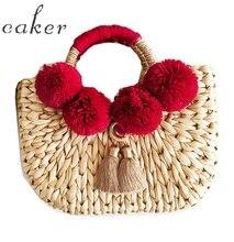 Caker 2018 Women Straw Handbag Contrast Color Tassel Large Big Shoulder Bag Embroidery Letter Beach Holiday Travel Shoulder Bags