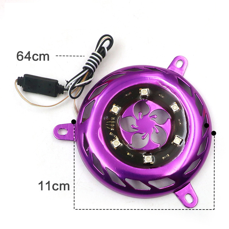 Motorcycle Modified LED Flash Fan Cover Motobike Offroad Imitation Jog Pointer Wildfire Blade Cover Lantern Decoration Universal