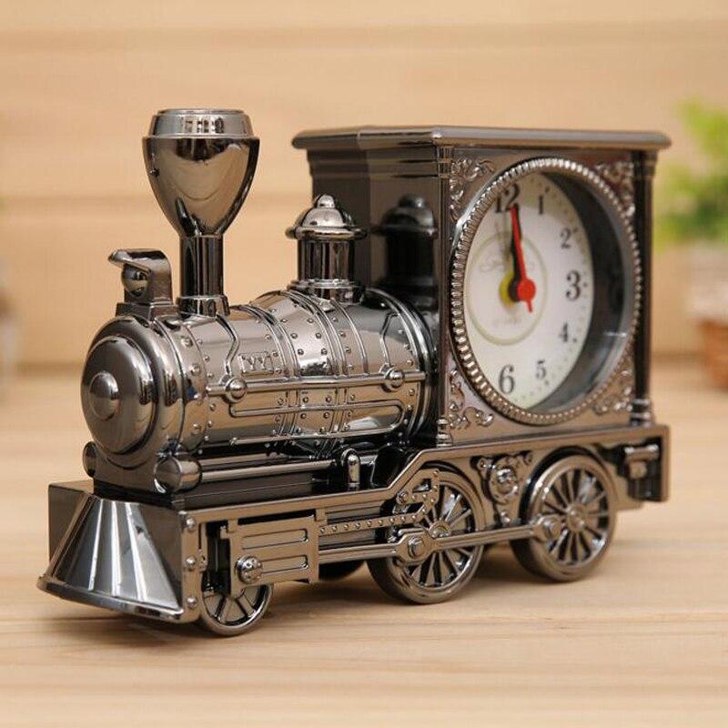 2016 New Locomotive Antique Clock 3 Color Fashion Home Alarm Classical Style Creative Cartoon Alarm Clock A