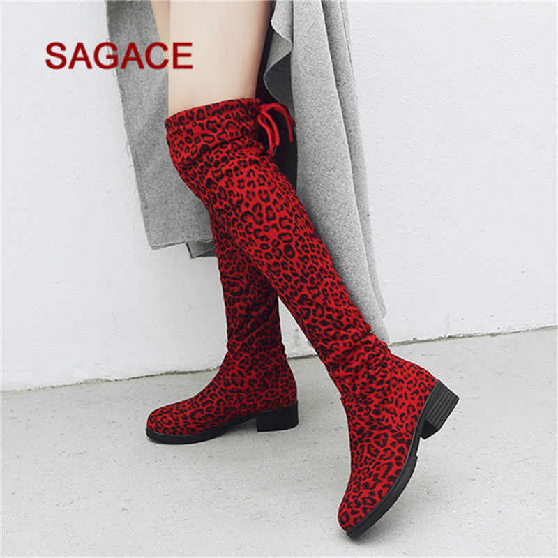 2019 SAGACE ผู้หญิงรองเท้าหนังนิ่มเสือดาวพิมพ์รอบ Toe รองเท้าบู๊ทเข่ารองเท้าบูท Martin Boots