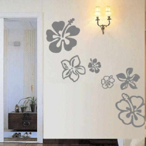 16 Hawaiian HIBISCUS Flowers Vinyl Wall Art Decals Nature-in Wall ...