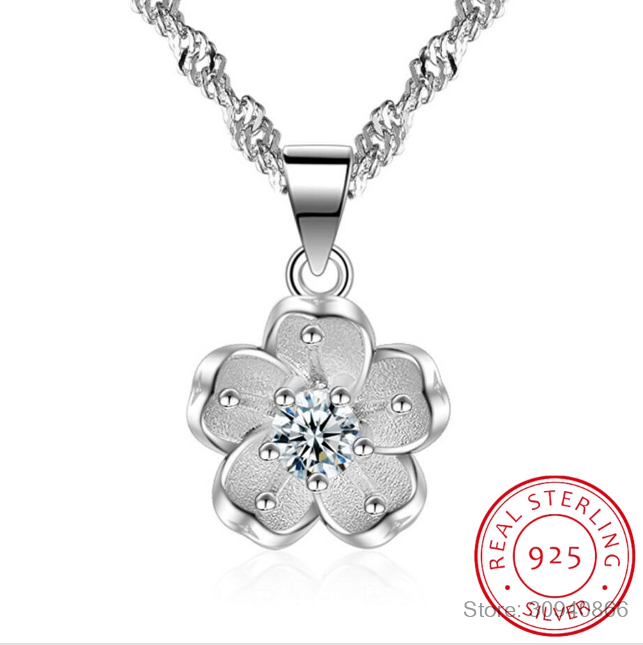 100% 925 Sterling Silver Shiny Crystal Cherry Blossoms Flower Fashion Ladies`pendant Necklaces Women Short Box Chain Wedding