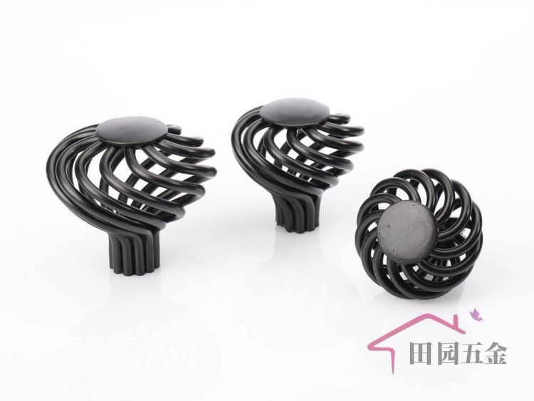 45mm European Black Bronze iron birdcage cabinet knob / black ...