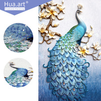 Hua Art Diamond Painting Diamond Embroidery Animal Peacock Needlework Round Full Diamond Mosaic Decoration Cross Stitch