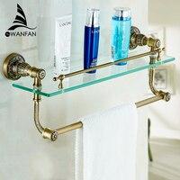 Bathroom Shelves Tempered Glass Shower Shelf Single Bar Antique Brass Bathroom Accessories Shampoo Storage Wall Shelf SL 7838
