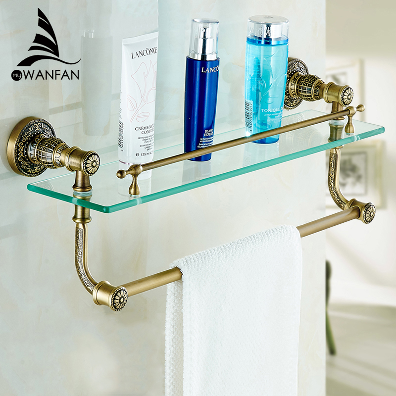 Bathroom Shelves Tempered Glass Shower Shelf Single Bar Antique Brass Bathroom Accessories Shampoo Storage Wall Shelf SL-7838 black bathroom shelves stainless steel 2 tier square shelf shower caddy storage shampoo basket kitchen corner shampoo holder