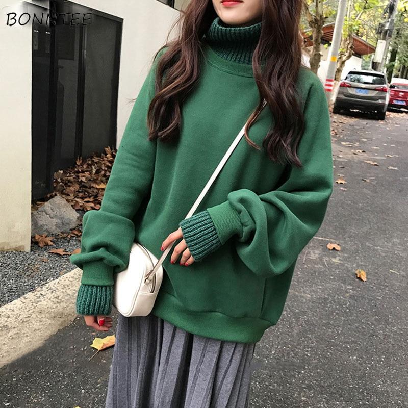 Hoodies Women Thicker Plus Velvet Warm Solid Turtleneck Womens Hoodie Korean Style Kawaii Trendy Elegant All-match Leisure Chic