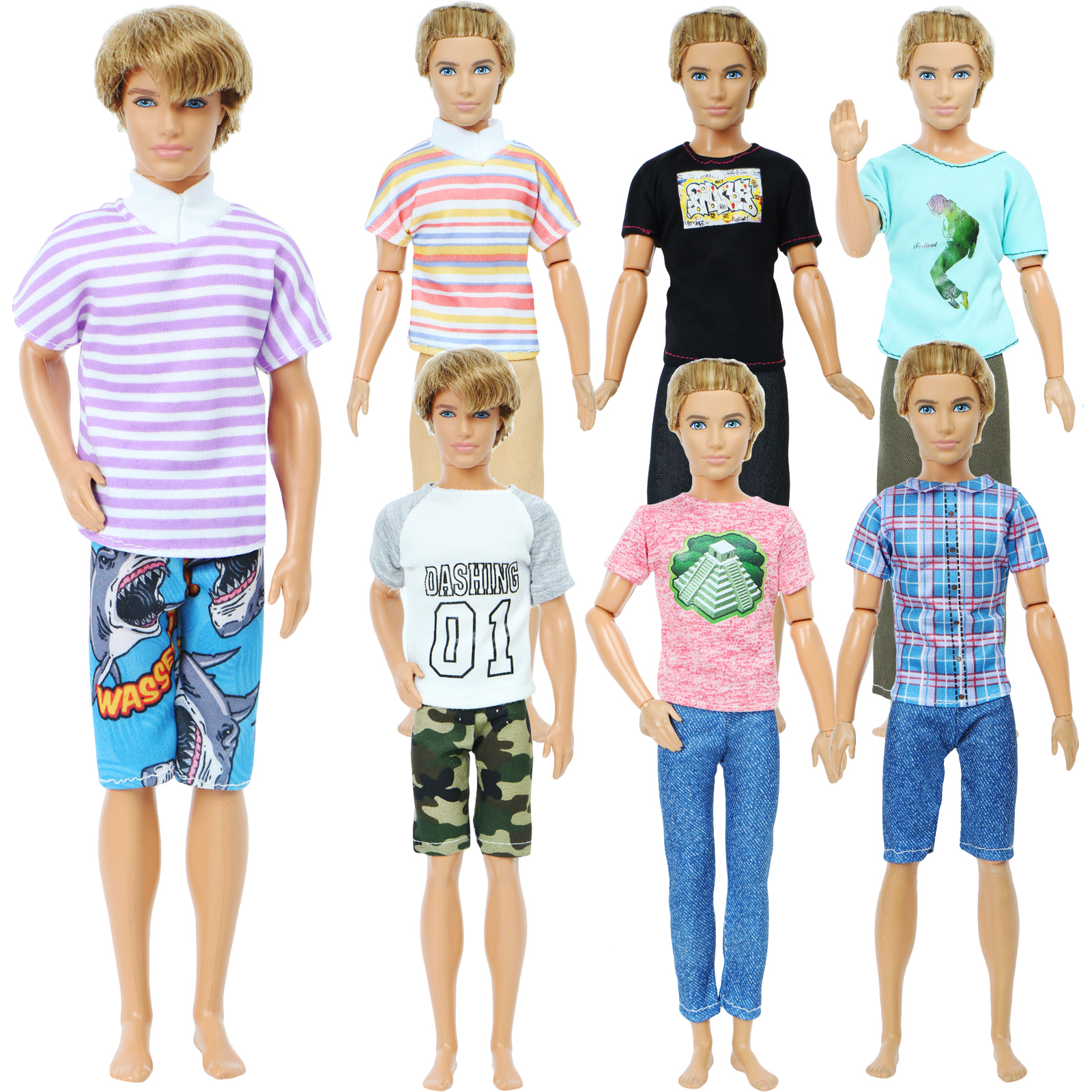 1 Set Daily Casual Outfit Pants Shorts + Striped T-Shirt Men Summer Clothes For Barbie Ken Doll Accessories Lot Style