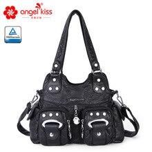 Angelkiss Новая модная женская сумка мягкая дамская сумка из искусственной кожи с кисточками женская сумка на плечо большая женская сумка с заклепками летняя сумка