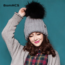 Фотография BomHCS Big Fox Fur Pompom Women