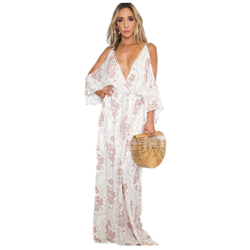 Paisley Print Cold Shoulder Plunging V-neck Straps Womens Dress Cutout Tie Back Floor Length Loose Maxi Dresses with Drop Sleeve