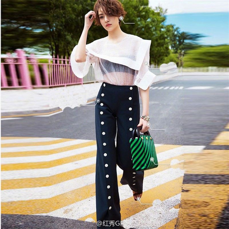 2019 Euramerican Spring Summer Casual Popular Button Slim Fit Jag Straight Loose Elegant High Quality Elegant