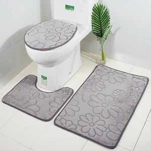 Image 5 - Zeegle 3pcs Bathroom Mat Set Toilet U Type Mat Shower Mats Absorbent Foot Rug Non slip Floor Mat Pedestal Rug Lid Toilet Cover