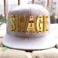 Moda Hip hop Sombrero de Ala Plana de Acrílico SWAG Remache Punky Danza gorra de Béisbol Gorra de gascan cap
