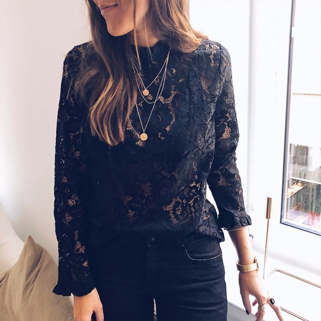 BEFORW 2019 Women Sexy Lace Hollow Out Perspective Blouse Shirt Elegant Flare Sleeve Black White Blouses Casual Floral Tops 4