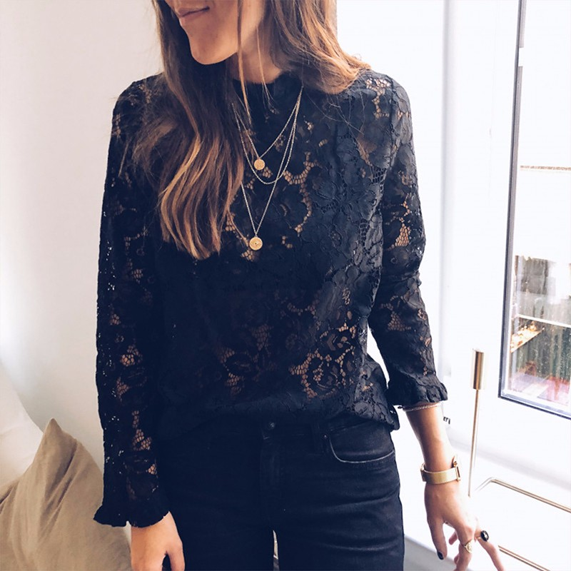 BEFORW 2019 Women Sexy Lace Hollow Out Perspective   Blouse     Shirt   Elegant Flare Sleeve Black White   Blouses   Casual Floral Tops