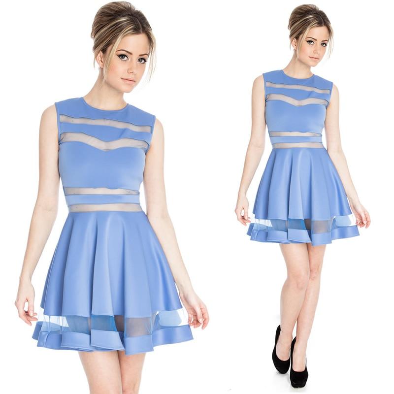 118fa1b3a8b0 Women Dresses Cute Sexy Candy colors Blue Pink Black Maroon Sexy Mesh  Patchwork Transparent Big Swing Dress Club Dresses 2015