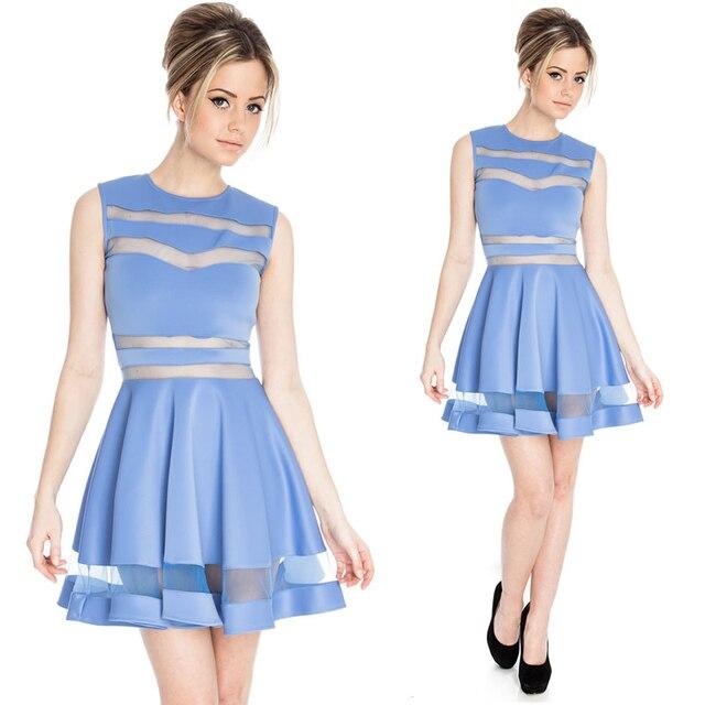 41708580cefa Women Dresses Cute Sexy Candy colors Blue Pink Black Maroon Sexy Mesh  Patchwork Transparent Big Swing Dress Club Dresses 2015
