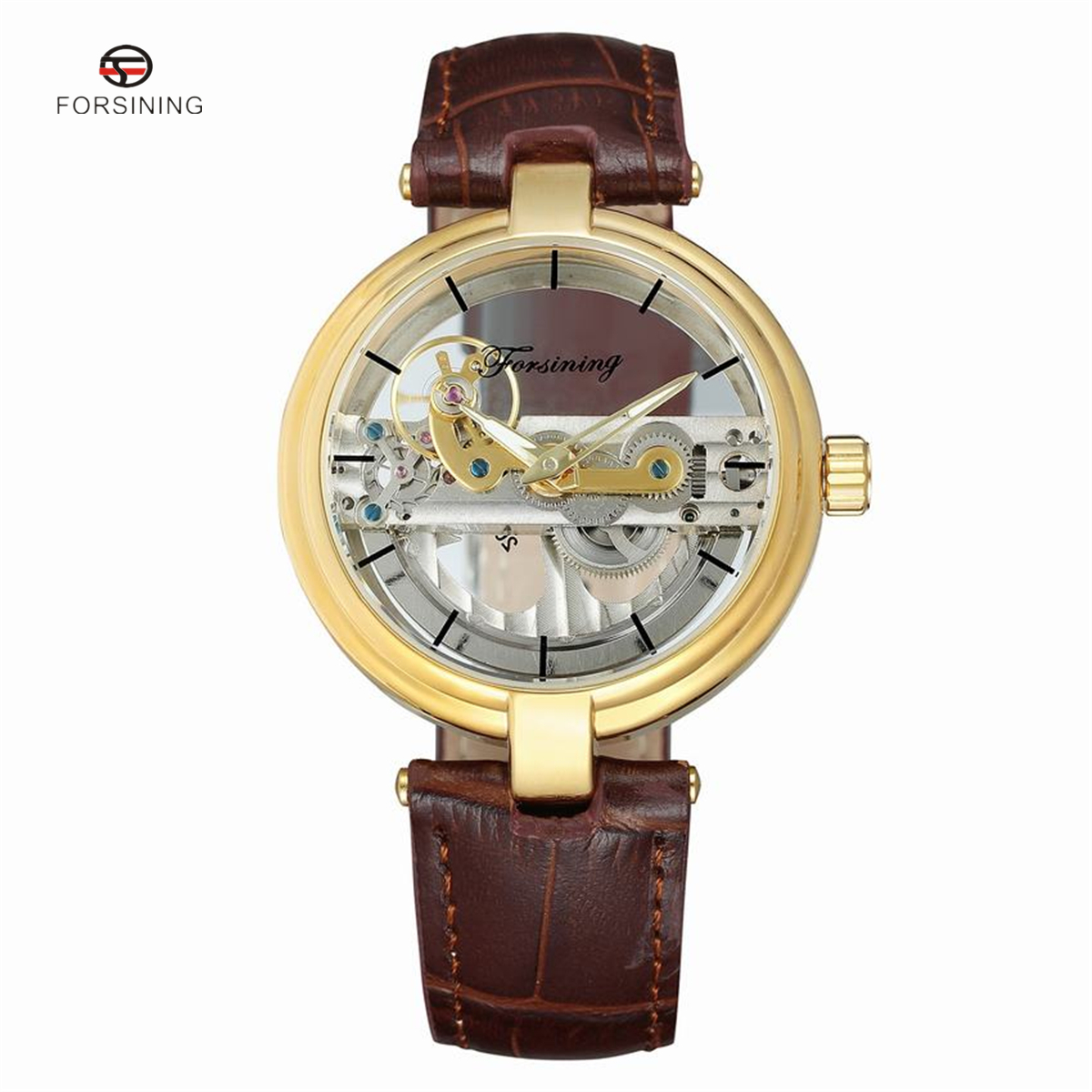 FORSINING Brand Transparent Uhr Men Automatic Mechanical Watches Casual Male Sport Hollow Leather Strap Wristwatch подвесная люстра lumion otesso 3409 5a