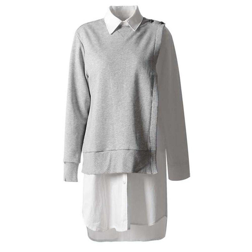 Femmes automne printemps faux deux pièces tout assorti épissure col rabattu manches longues robe gris FS0700