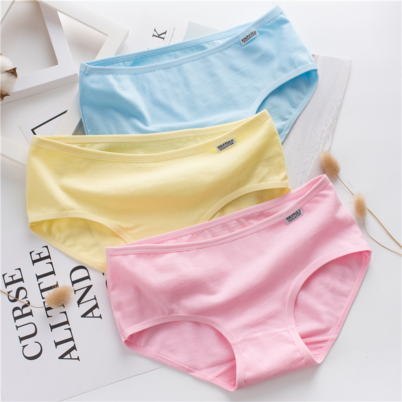 9Pcs lot Cotton Underwear for Young Girls Solid Color Children Soft Panties Teenages Sweet Briefs Puberty Lingerie wholesale in Panties from Mother Kids