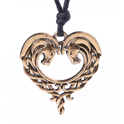 Lemegeton Double Horse Heart Shape Animal Irish Knot Viking Vintage Charms for Necklaces & Pendants with Adjustable Rope Chain
