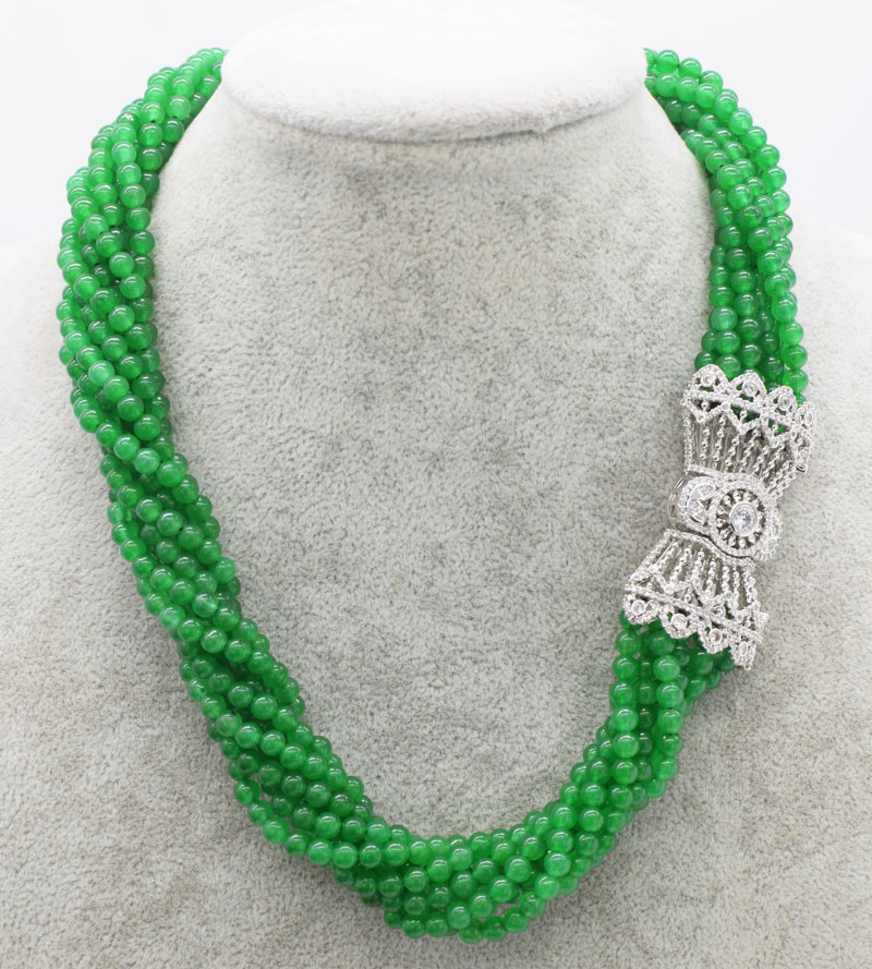 8rows green jade  round  4mm necklace  18inch  FPPJ wholesale beads nature unique clasp 8rows green jade  round  4mm necklace  18inch  FPPJ wholesale beads nature unique clasp